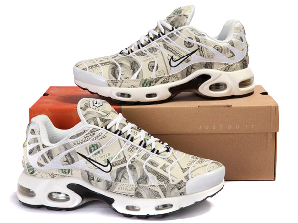 Air Max Nike Tn Requin/Nike Tuned 1 Chaussures Pas Cher Pour Homme Blanc/Gris/Dollar