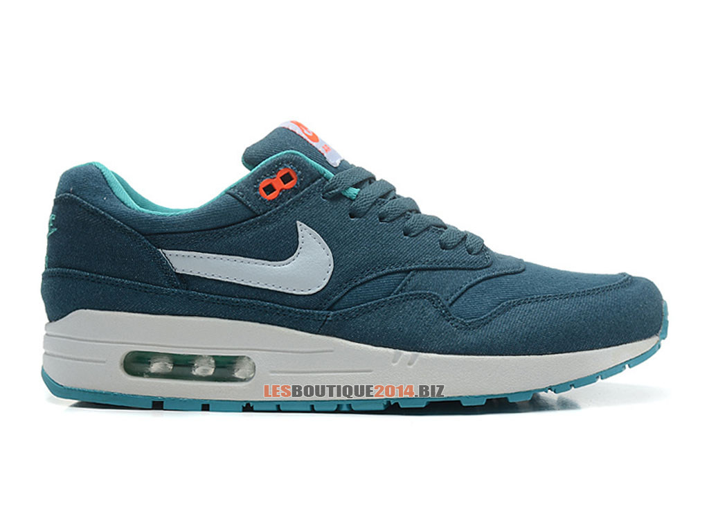 Nike Air Max 1/87 Essential - Chaussures de Nike Running Pas Cher Pour Homme Mid Turquoise/Blanc-Total Crimson 512033-313