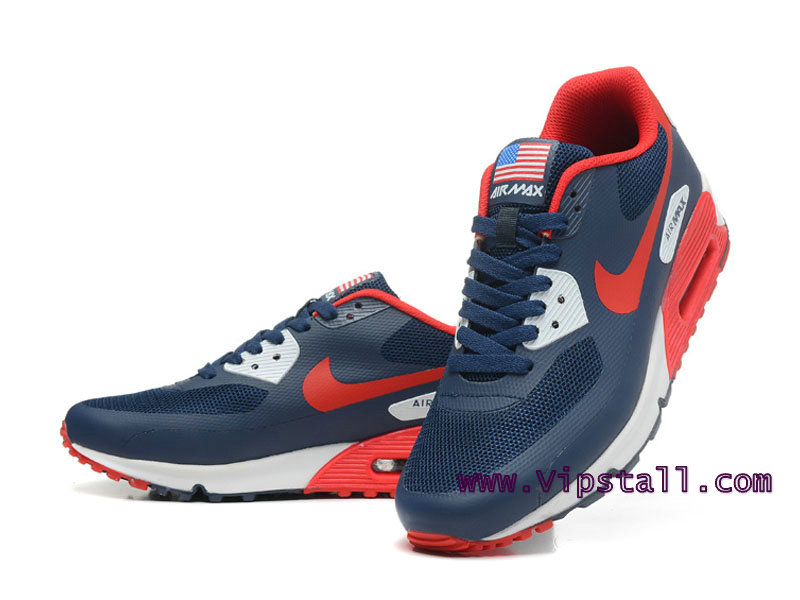 Nike Air Max 90 Hyperfuse USA Chaussures de BasketBall Pour Homme Bleu/Rouge 454446-ID11