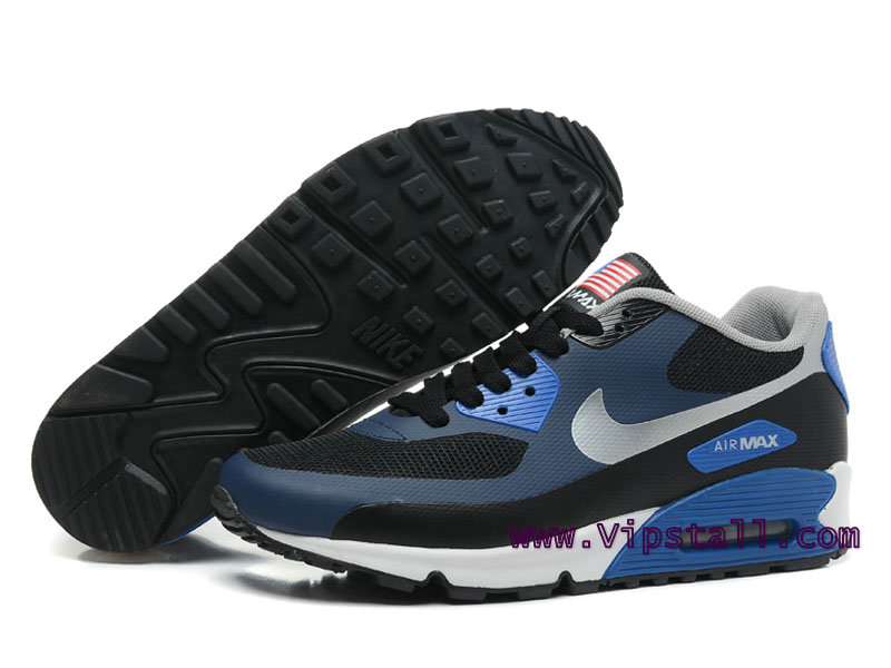 Nike Air Max 90 Hyperfuse USA Chaussures de BasketBall Pour Homme Noir/Argent 454446-ID10