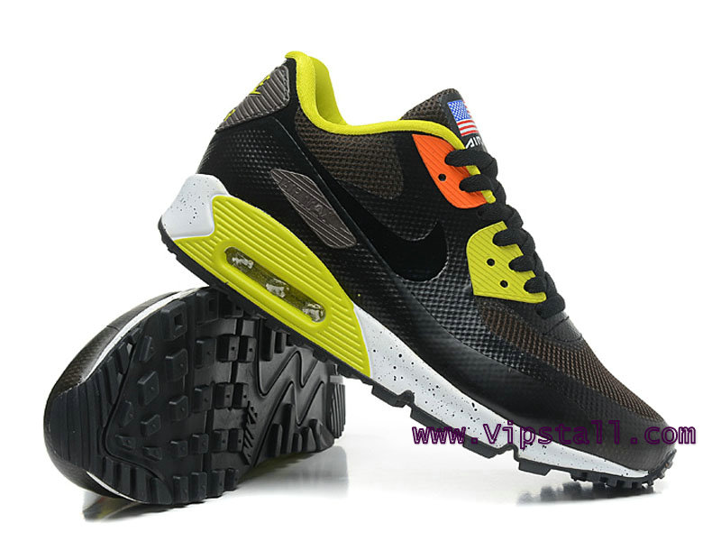 Nike Air Max 90 Hyperfuse USA Chaussures de BasketBall Pour Homme Noir/Jaune 454446-996