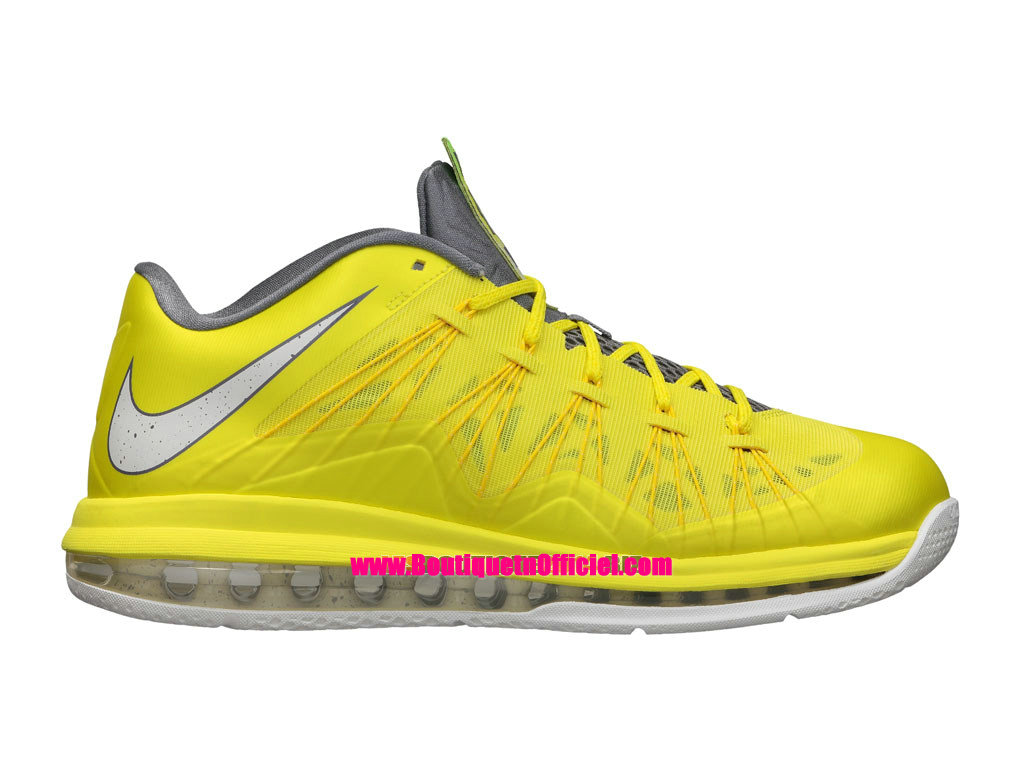 Nike Air Max LeBron X/10 Low - Chaussures Baskets Nike Pas Cher Pour Homme Sonic Yellow Cool Grey 579765-700