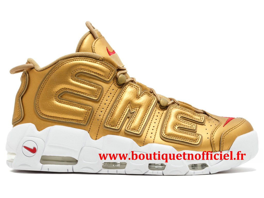 Nike Air More Uptempo Chaussures BasketBall Pas Cher Pour Homme Or Blanc 902290-700