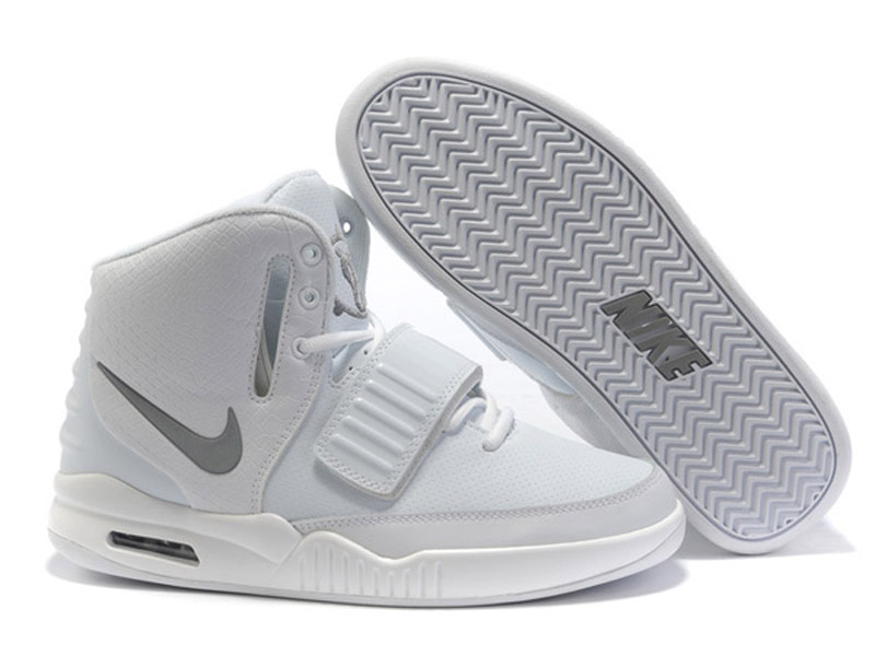 Nike Air Yeezy 2 II - Chaussures de Basket-Ball Pas Cher Pour Homme Blanc
