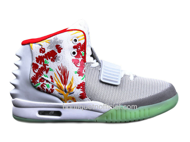 Nike Air Yeezy 2/II ´Givenchy´ Customs by Mache - Chaussures Pour Homme Gris/Blanc/Rouge