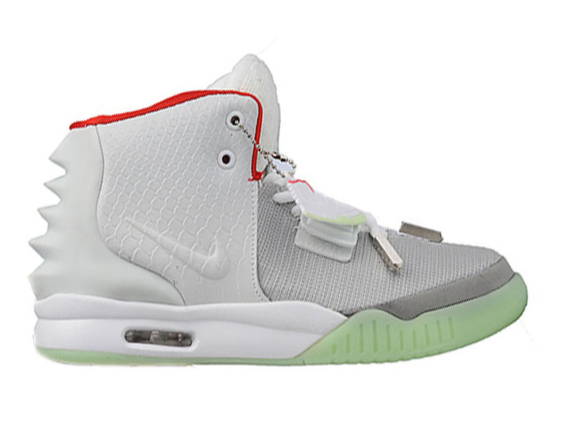 Nike Air Yeezy 2/II GS (Kanye West) Chaussures de Basket-Ball Pas Cher Pour Femme Blanc/Gris/Rouge