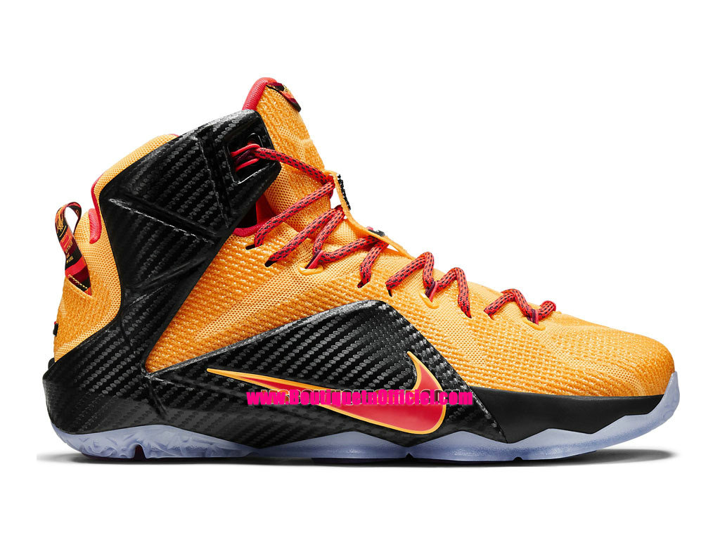Nike Lebron 12/XII Cleveland - Chaussures Nike Baskets Pas Cher Pour Homme Orange laser/Cramoisi brillant
