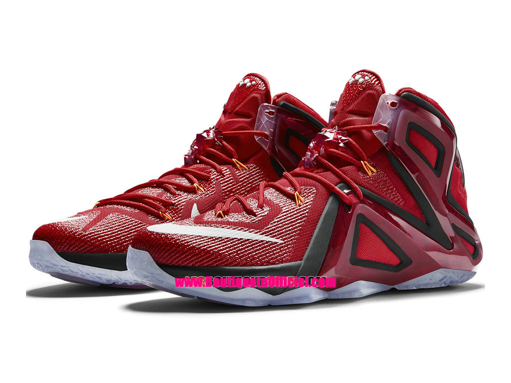 Nike Lebron 12/XII Elite Ignite - Chaussures Nike Baskets Pas Cher Pour Homme Rouge Université/Orange Brillant-Cramoisi Brillant-Blanc