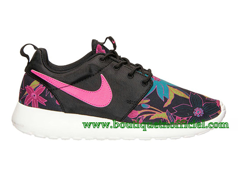 Nike Roshe One Print GS Chaussures Nike Pas Cher Pour Femme Noir/Rose 749986-061