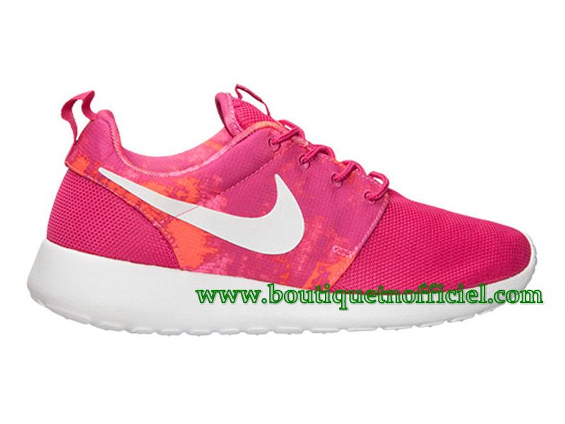 Nike Roshe One Print GS Chaussures Nike Pas Cher Pour Femme Rose/Blanc 599432-613