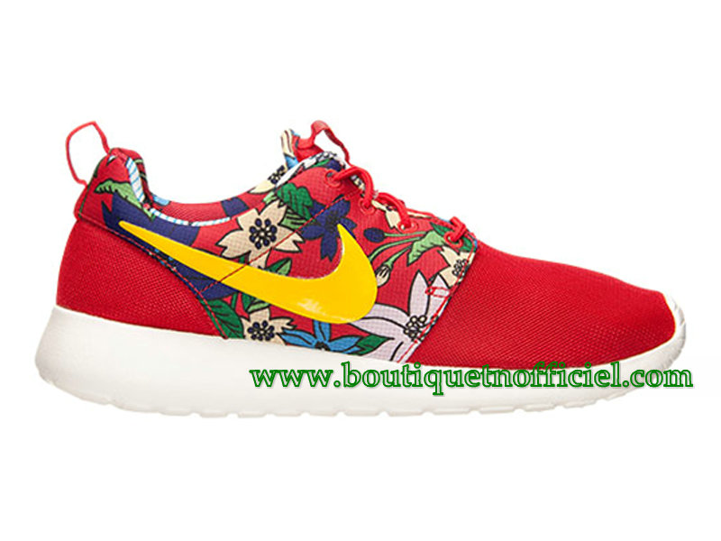 Nike Roshe One Print GS Chaussures Nike Pas Cher Pour Femme Rouge 599432-674