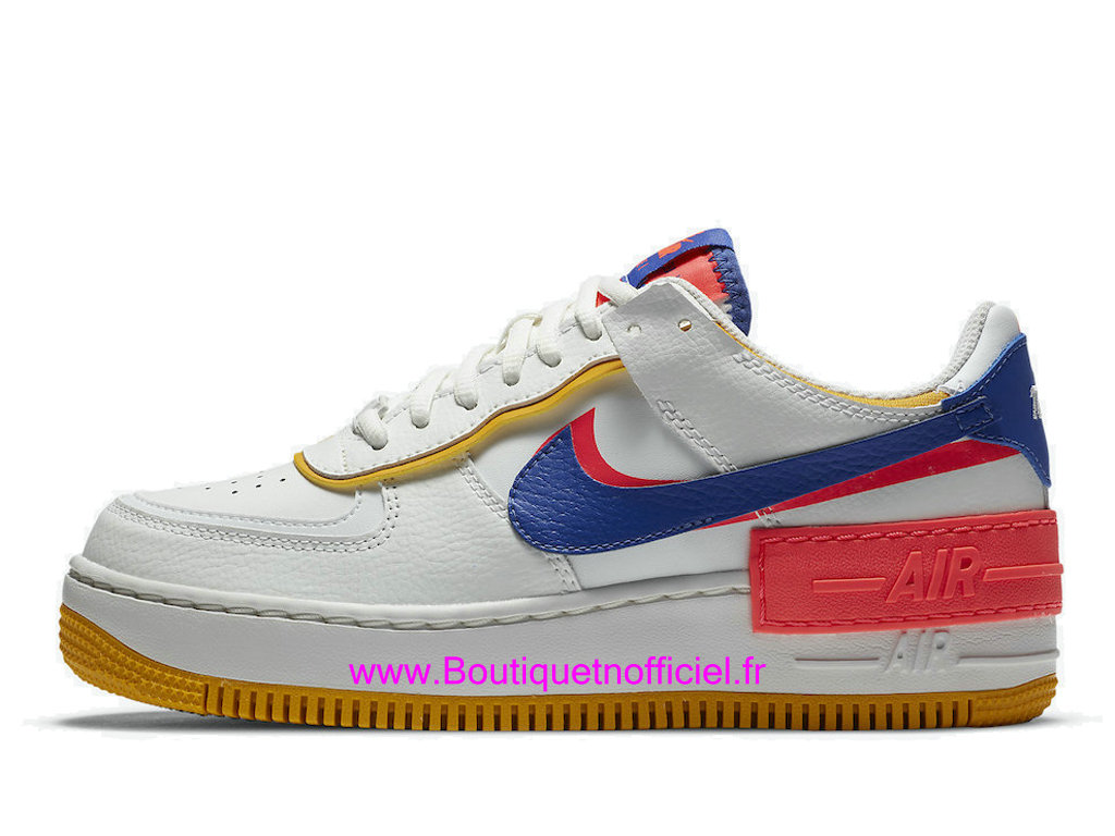 Officiel Nike Air Force 1 Shadow White Flash Crimson CI0919-105 Chaussures Nike 2021 Pas Cher Pour Femme/Enfant