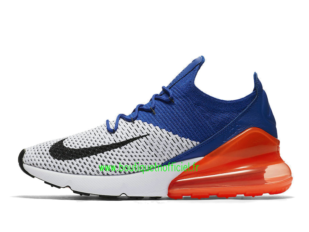 Officiel Nike Air Max 270 Flyknit Chaussures Nike Running Prix Pas Cher Pour Homme Blanc Bleu AO1023-101