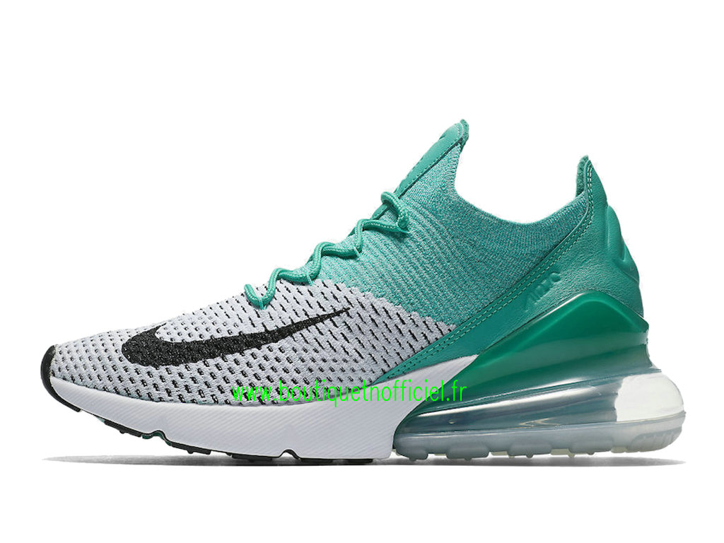 Officiel Nike Air Max 270 Flyknit Chaussures Nike Running Prix Pas Cher Pour Homme Blanc Vert AH6803-300