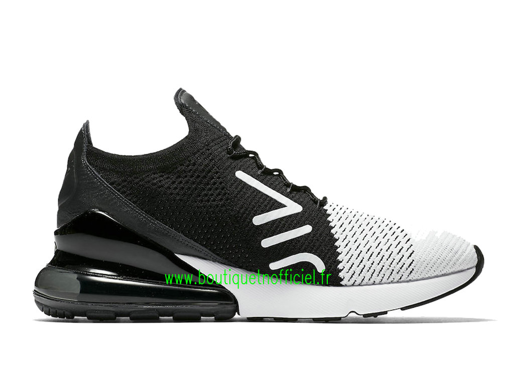 Officiel Nike Air Max 270 Flyknit Chaussures Nike Running Prix Pas Cher Pour Homme Noir Blanc AO1023-100