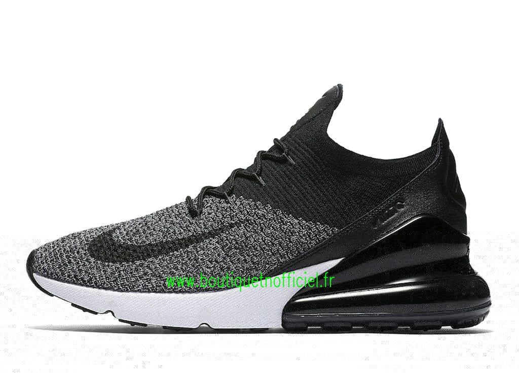Officiel Nike Air Max 270 Flyknit Chaussures Nike Running Prix Pas Cher Pour Homme Noir Gris AO1023-001