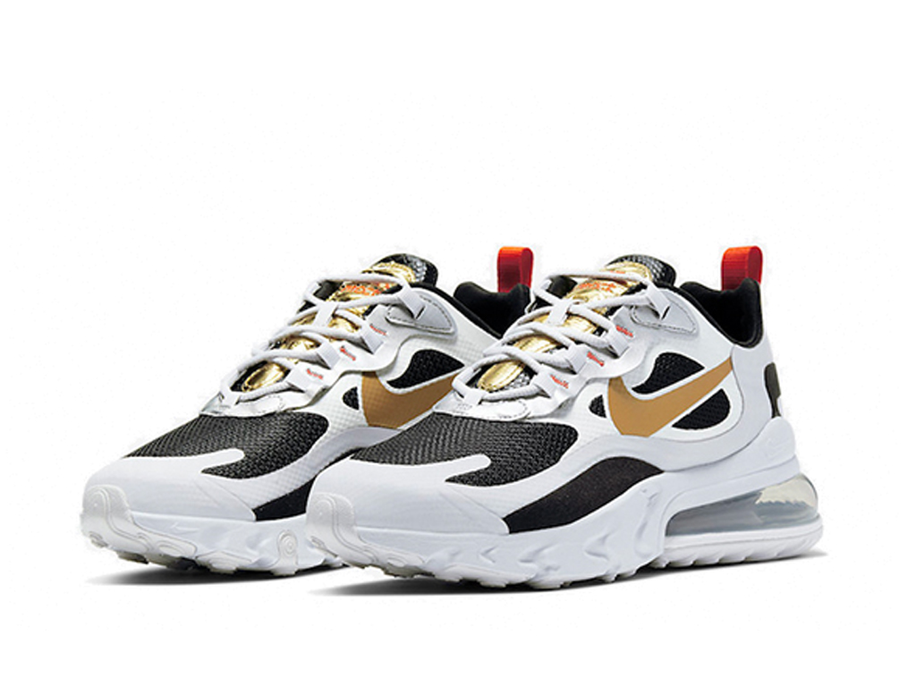 Officiel Nike Air Max 270 React Chaussures Nike 2020 Pas Cher Pour Homme Blanc Or CT3433-001