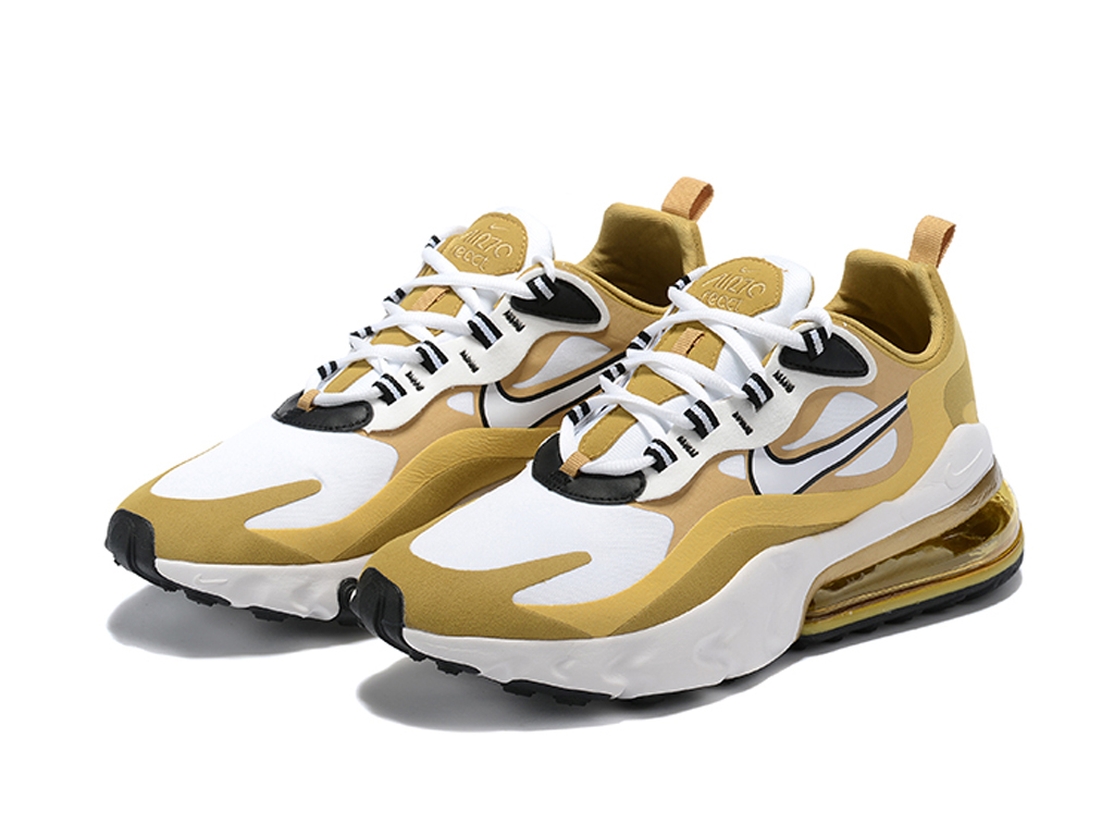Officiel Nike Air Max 270 React Chaussures Nike 2020 Pas Cher Pour Homme Or Blanc CT3433-ID4