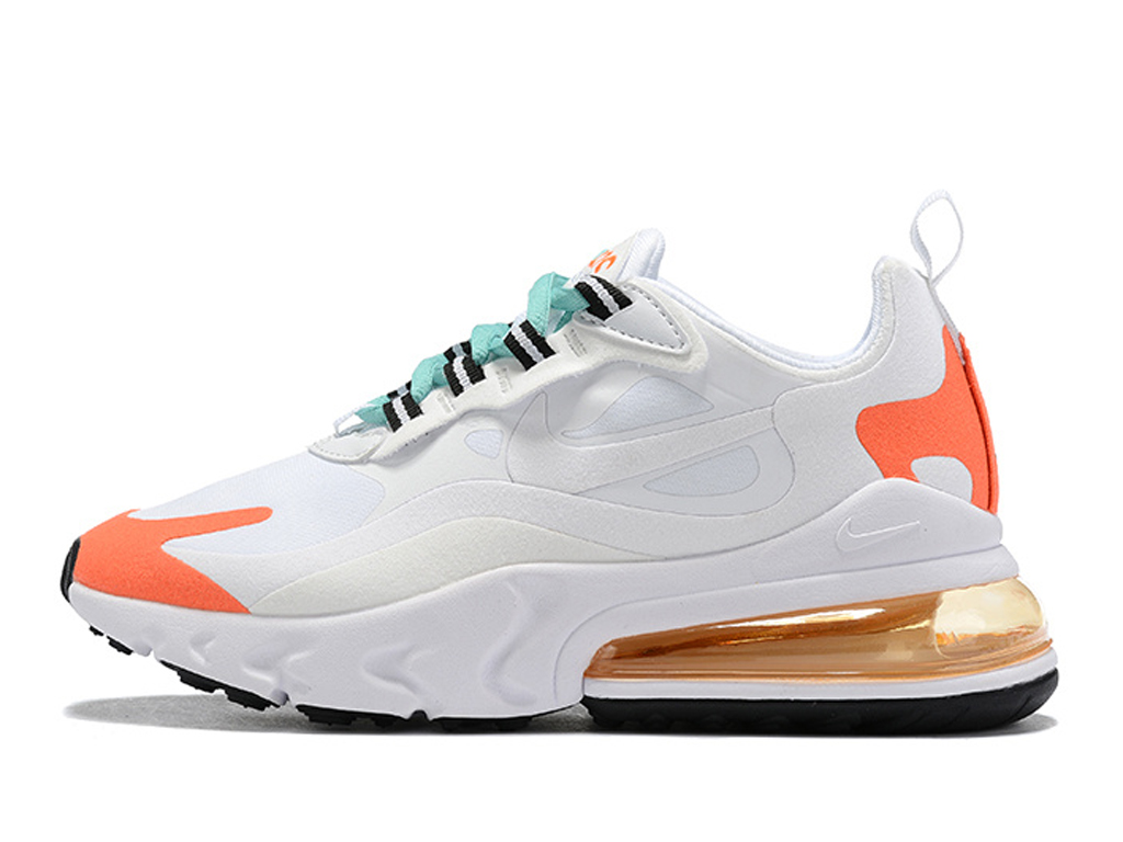Officiel Nike Air Max 270 React Chaussures Nike Running Pas Cher Pour Homme Blanc Orange