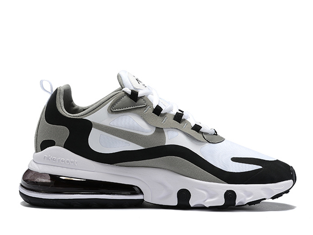 Officiel Nike Air Max 270 React Chaussures Nike Running Pas Cher Pour Homme Gris Blanc