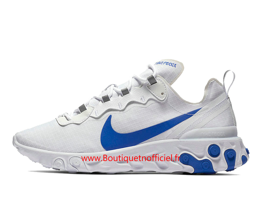 Officiel Nike React Element 55 SE White/Game Royal Chaussures Nike Basket_Ball Pas Cher Pour Homme BQ6167-100