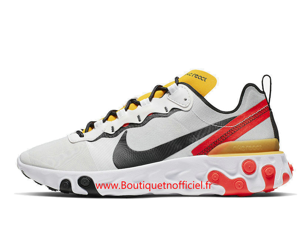 Officiel Nike React Element 55 White/Black-Bright Crimson Chaussures Nike Basket_Ball Pas Cher Pour Homme BQ6166-102
