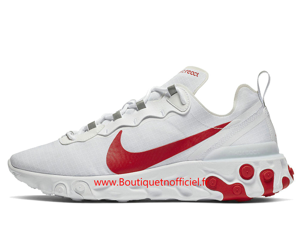 Officiel Nike React Element 55 White Red Chaussures Nike Basket_Ball Pas Cher Pour Homme BQ6167-102